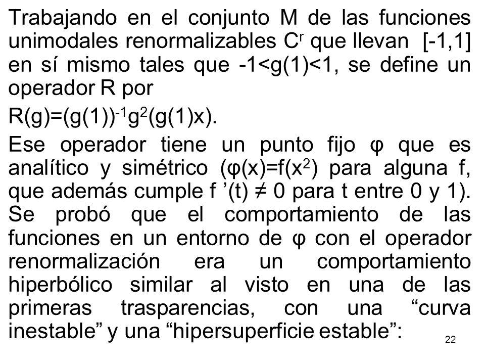 Trabajando en el conjunto M de las funciones unimodales renormalizables Cr que llevan [-1,1] en sí mismo tales que -1<g(1)<1, se define un operador R por